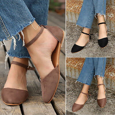 Women's Ladies Ankle Strap Flat Ballerinas Dolly Court Pumps Casual Shoes Size • 10.63£