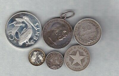Six Silver Foreign/world Coins 1877 To 1977 In Fine Or Better Condition • 1.99£