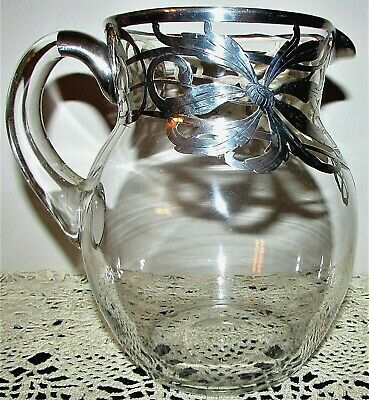 $95 • Buy Stunning Antique Clear Glass Water Pitcher Silver Floral Overlay, Applied Handle
