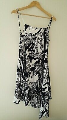 AU21.70 • Buy Zulu & Zephyr Size 12 Black & White Bird Print Dress