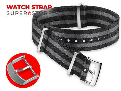 BLACK GREY Nylon Strap For OMEGA NATO James Bond 007 Watch Band Buckle 18-24mm • 13.90£