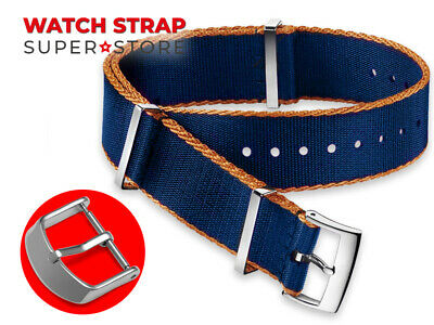 Blue Orange Nylon Strap For OMEGA NATO James Bond 007 Watch Band Buckle 18-24mm • 13.90£