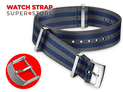 BLUE GREY Nylon Strap For OMEGA NATO James Bond 007 Watch Band Buckle Army Clasp • 13.90£