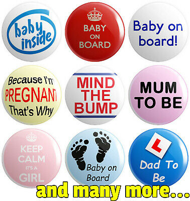 Pregnancy - Various Designs - BUTTON PIN BADGES 25mm 1 INCH | Baby On Board • 0.99£