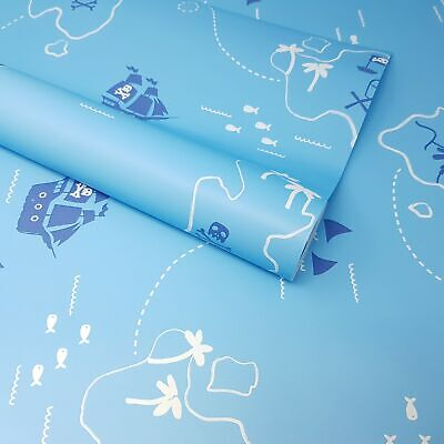 Children's Kids Boys Blue Nautical Sea Pirates, Sharks, Treasure Map Wallpaper • 6.49£