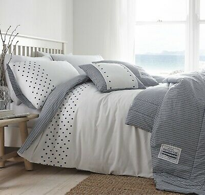 Luxury Navy Nautical Stripes & Polka Dots Double Duvet Quilt Cover Bedding Set • 26.95£
