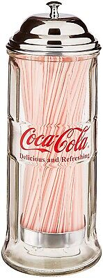 $35.89 • Buy Glass Straw Dispenser With Chrome Plated Metal Lid Cover Straws Included New