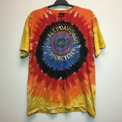 $ CDN30 • Buy Rare Vtg Harley Davidson Tie Dye Shirt Size Orange Black Sz. L Large