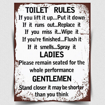 £4.95 • Buy METAL SIGN WALL PLAQUE TOILET RULES Print Picture Retro Style Bathroom Decor