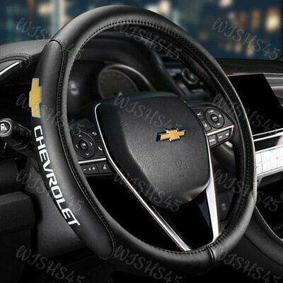 $34.25 • Buy CHEVROLET CHEVY Black 15  Diameter Car Auto Steering Wheel Cover Genuine Leather