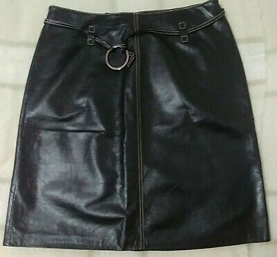 $ CDN70 • Buy NEW - Genuine Polished Black Leather Danier Skirt With Belt, Size 10