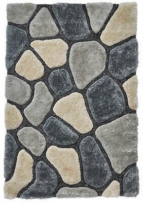 Grey & Blue Pebble Rug Shaggy Pile Noble House Soft Hand Tufted Home Décor Mat • 99.99£