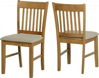 £109.95 • Buy Pair Of Oxford Solid Wood Dining Chairs - Natural Oak - Mink Microsuede Seat Pad