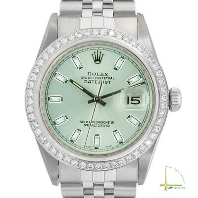 $ CDN7202.13 • Buy Mens Rolex Watch Datejust 16014 36mm Steel Custom Ice Green Diamond Dial