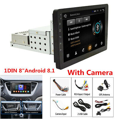 $ CDN152.38 • Buy 8  Touch Screen 1DIN Android 8.1 Quad-core 1GB+16GB Car Stereo Radio GPS+Camera