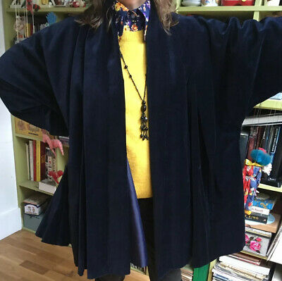 VINTAGE 80s DOES 20s 50s BLUE VELVET SWING OPERA FLAPPER STYLE COAT SIZE L 14 16 • 75£