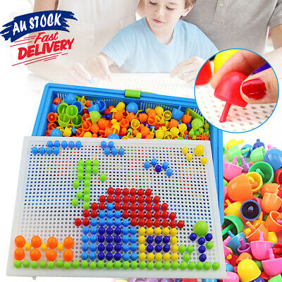 AU14.25 • Buy 296 Creative Learning Gift Kids DIY Toys Children Puzzle Educational Pegs Board
