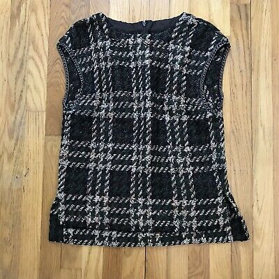$ CDN37.81 • Buy W By Worth Sleeveless Woven Houndstooth Sweater Top Size 6 Chain Detail