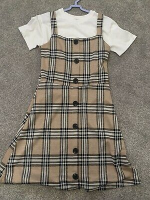 Fabulous RIVER ISLAND Girls Beige Check Pinafore Dress - Age 11-12 Sold Out • 6.50£