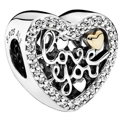 Genuine Pandora Love You, Love Script Heart Charm Silver S925 ALE 792037CZ • 15.99£