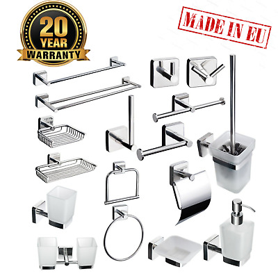 Self Adhesive Bathroom Accessories Set Square Style Stainless Steel Wall Mounted • 17.99£