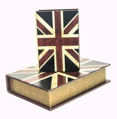 Set Of 2 Vintage Retro Union Jack Decorative Wooden Book Storage Hiding Box • 11.99£