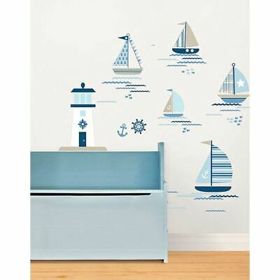 WallPops - Navy Blue White Nautical Ships Kids Bedroom Wall Art Decal Stickers • 5.99£