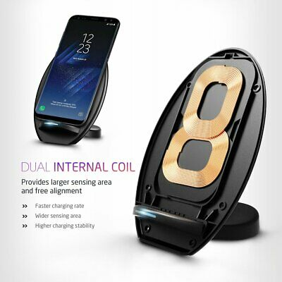 AU9.99 • Buy Dual Coils Wireless Qi Fast Charger Charging Stand Dock For Samsung Galaxy S8 S7