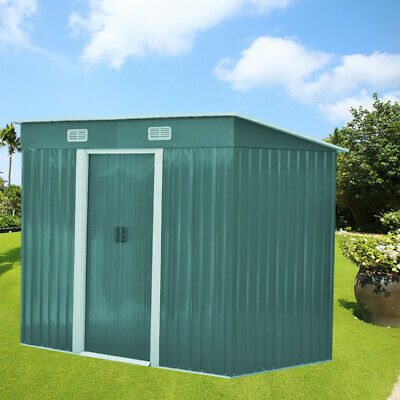 Metal Garden Shed 4ft×8ft Outdoor Tool Storage House + Free Foundation Green • 192.95£