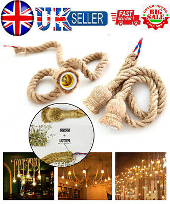 Vintage Braided Hemp Electrical Wire Retro DIY Ceiling Light Rope Cable Home UK • 8.02£