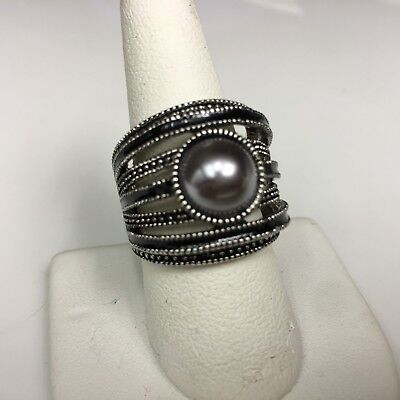 $ CDN17.65 • Buy Lia Sophia MADISON Ring Faux Gray Pearl Silver Tone NWT SIZE 6  8 11