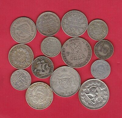14 Mixed World/foreign Silver Coins 1864 To 1952 In Fine Or Better Condition • 80£