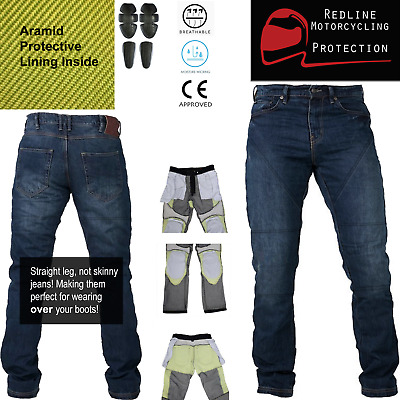 Motorbike Motorcycle Denim Jeans Trousers Biker With CE Armour Protection Aramid • 44.99£
