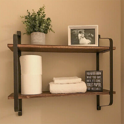 Rustic Industrial Pipe Wooden Metal Wall Floating Shelf Storage Shelving Unit UK • 22.95£