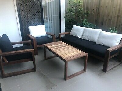 AU500 • Buy Handcrafted Outdoor Recycled Timber Lounge Setting With Table