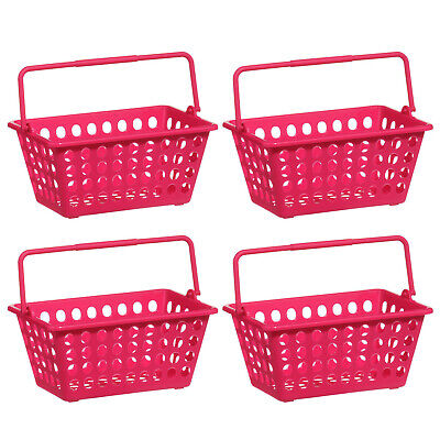 Set Of 4 Storage Basket Durable Plastic Hot Pink Colourful Organiser With Handle • 8.95£