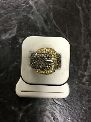 $3.25 • Buy Charles Winston~Hallmarked CWE Buckle RING STERLING 925 CZ Accents  Size 8 Nice!