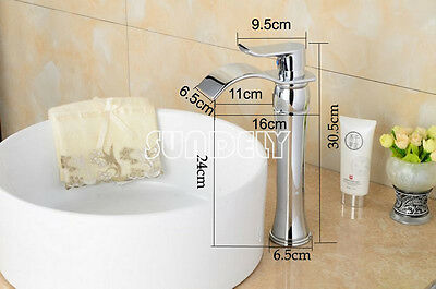 £50.23 • Buy HQ Waterfall Counter Top Basin Mixer Tap Taps Bathroom Sink Tall Chrome Faucet