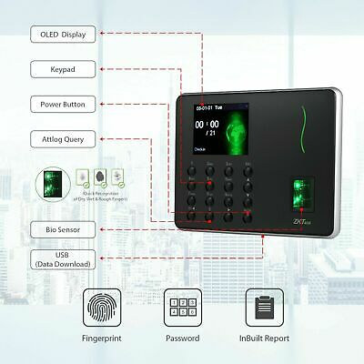 AU144 • Buy Fingerprint Attendance Machine Time Clock Employee  Recorder For Office Supply