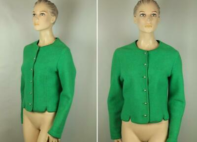 $24.99 • Buy GEIGER Austria Green Boiled 100% Pure Wool Cropped Dress Coat Jacket 44