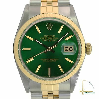$ CDN7075.45 • Buy Men's Rolex Datejust 36mm 18k Gold And Steel Watch Green Index Dial Fluted Bezel