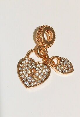 Charm Rose Gold Pandora Bead 925 Heart Love Pendant Dangle • 4£