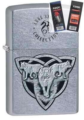 $23.56 • Buy Zippo 49099 Anne Stokes Wolf Design Lighter With *FLINT & WICK GIFT SET*