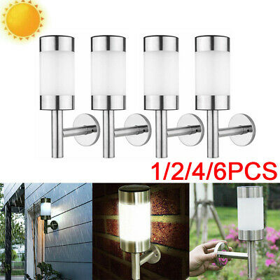 Solar Powered LED Wall Lights Stainless Steel Shed Lamp Outdoor Garden Lantern • 13.95£