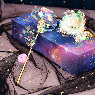 UK Forever Galaxy Gold Rose Flower With Love Base Best Lovers' Romantic Gift • 4.89£