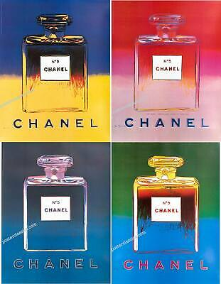 $585 • Buy Chanel N5 Perfume By Andy Warhol Original On Linen 22x29 Inches Set Of 4 Posters