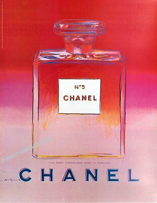 $175 • Buy Chanel N5 Perfume By Andy Warhol Original On Linen 22x29 Inches Red/pink