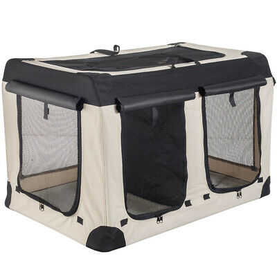 £69.99 • Buy Double Dog Or Cat House Pet Carrier Crate With Partition, Beige/Black, 102 Cm