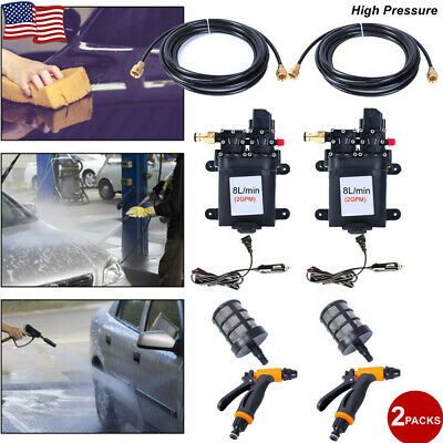 $55.90 • Buy 2Pack 12V 60W High Pressure Electric Car Wash Washer Water Pump Sprayer Home NEW