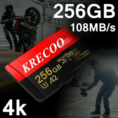 $7.99 • Buy KRECOO 256GB Micro Memory Card 108MB/S 4K HC Fast Flash TF Card With Adapter